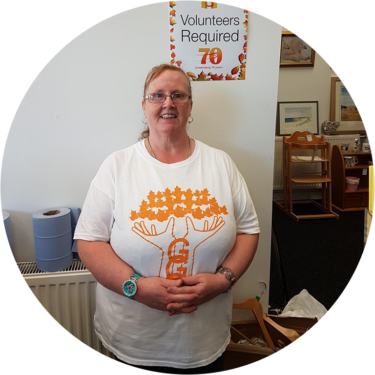 Volunteer Isobel at the GGG Charity Shop
