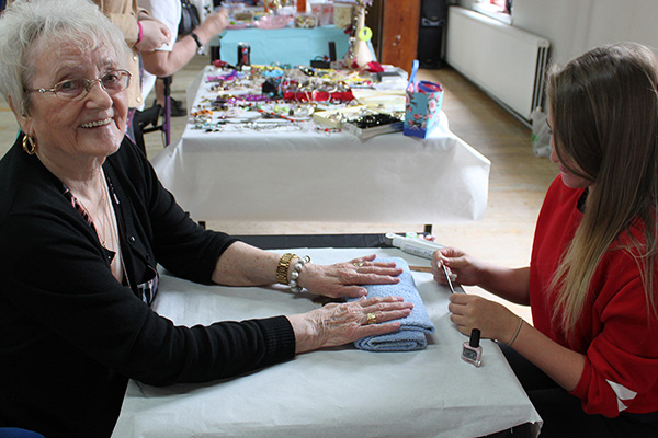 Service user at the Mattie Carwood Centre enjoys a manicure