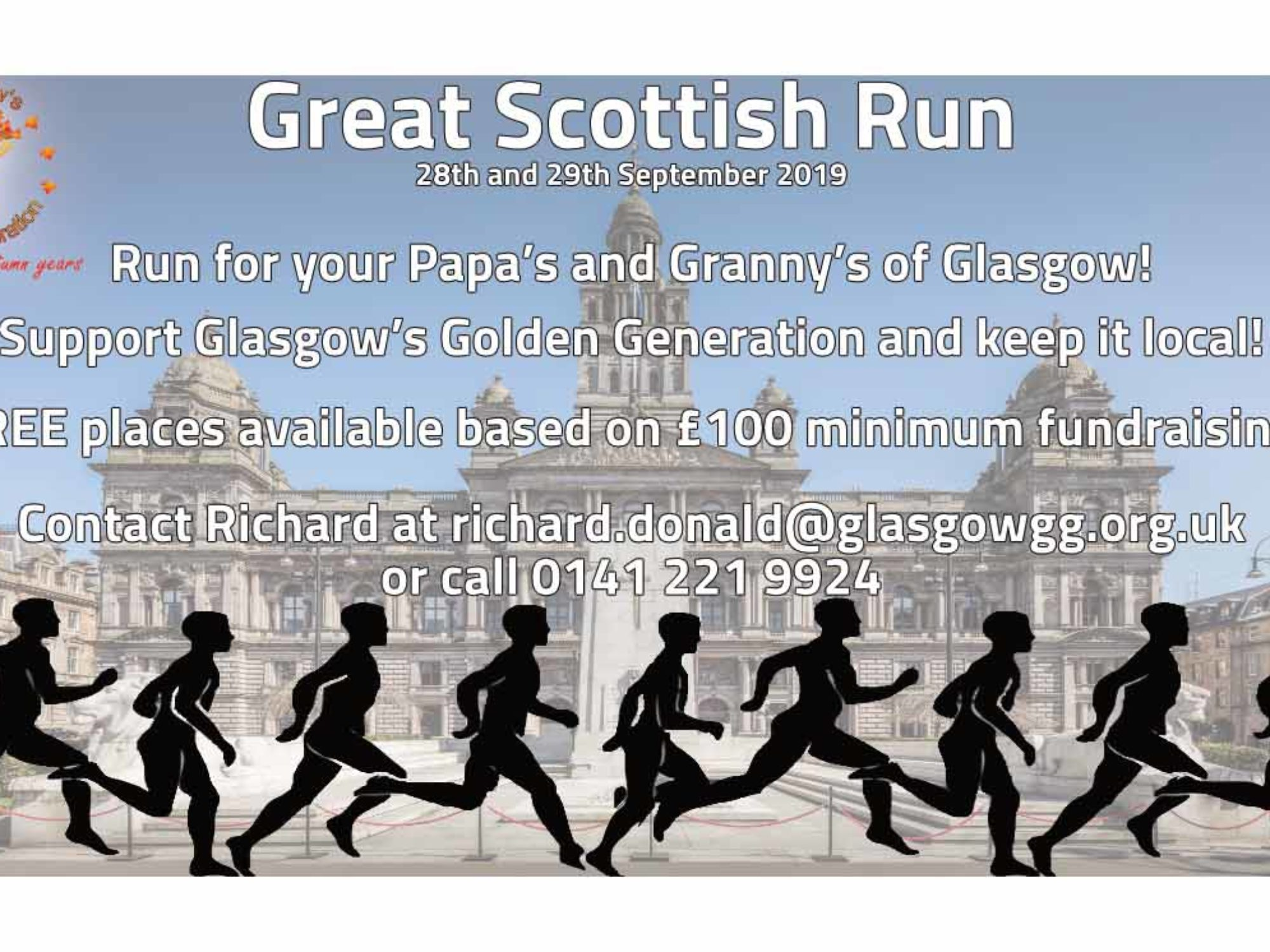 The Great Scottish Run! Have fun when you run and help your Gran as best you can! Free Places available